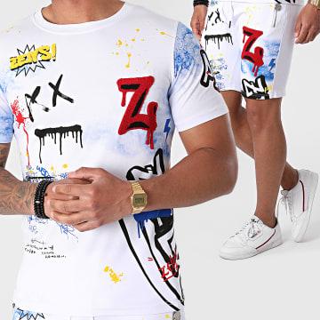 Zelys Paris - Ensemble Tee Shirt Short Jogging Tiex Blanc