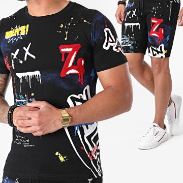 Zelys Paris - Ensemble Tee Shirt Short Jogging Tiex Noir