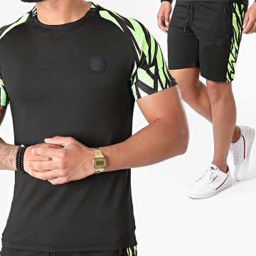 Zelys Paris - Ensemble Tee Shirt Short Jogging Josh Noir Vert Fluo