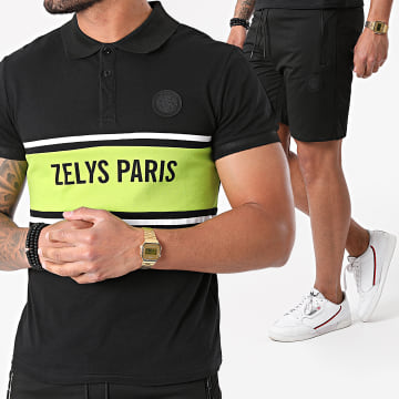 Zelys Paris - Ensemble Polo Short Jogging Djoko Noir