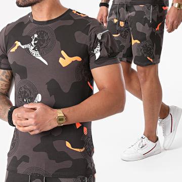 Zelys Paris - Ensemble Tee Shirt Short Jogging Camouflage Naga Gris Anthracite
