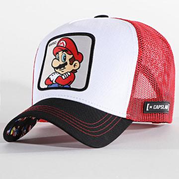 Capslab - Casquette Trucker Mario Rouge Blanc Noir