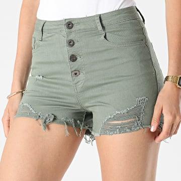 Girls Outfit - Short Jean Femme C9063 Vert Kaki