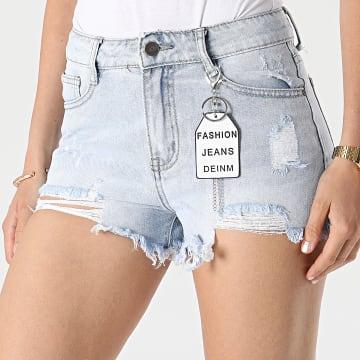 Girls Outfit - Short Jean Femme A161 Bleu Denim