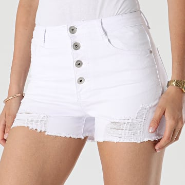 Girls Outfit - Short Jean Femme C9063 Blanc