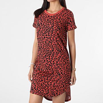Only - Robe Femme Leopard Ivy Life Orange Noir