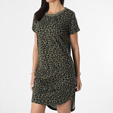 Only - Robe Femme Leopard Ivy Life Vert Kaki Noir