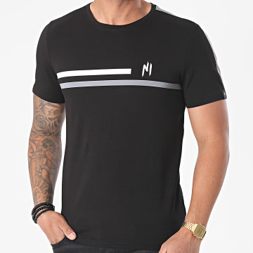 NI by Ninho - Tee Shirt Réfléchissant A Bandes Shaft TS020 Noir
