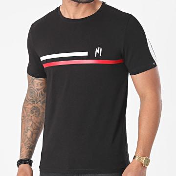 NI by Ninho - Tee Shirt A Bandes Shaft TS020 Noir Rouge
