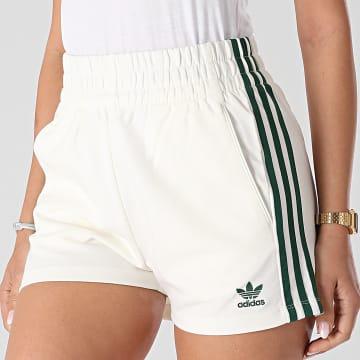 Adidas Originals - Short Jogging Femme A Bandes H56438 Blanc Cassé Vert