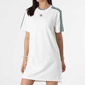 Adidas Originals - Robe Tee Shirt A Bandes Femme H56457 Blanc Cassé Vert