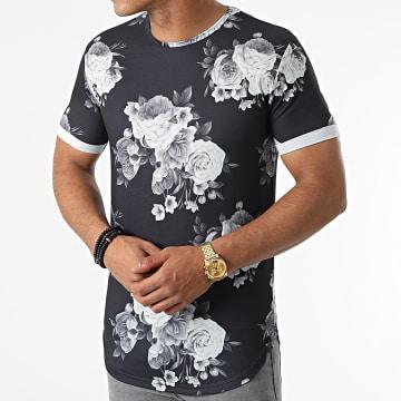 LBO - Tee Shirt Oversize Imprimé Avec Revers 1664 Noir Floral