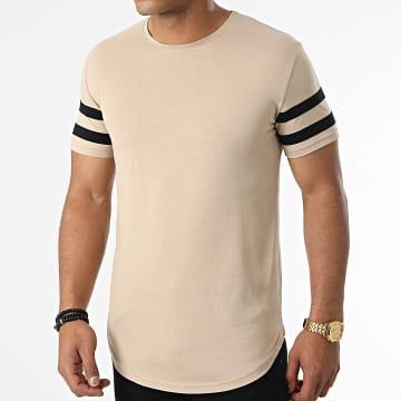 LBO - Tee Shirt Oversize Avec Bandes Noir 1666 Beige