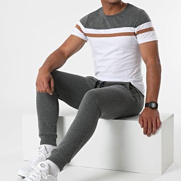 LBO - Ensemble Tee Shirt Pantalon Jogging Tricolore 1753 Gris Camel Blanc