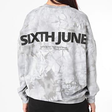 Sixth June - Sweat Crewneck Femme Tie Dye W4167KSW Gris