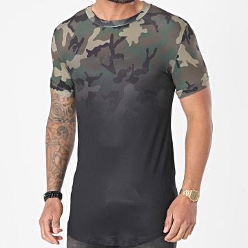 Sixth June - Tee Shirt Oversize M22246VTS Noir Vert Kaki Camouflage Dégradé