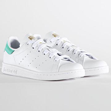 Adidas Originals - Baskets Femme Stan Smith H05055 Cloud White Green Gold Metallic