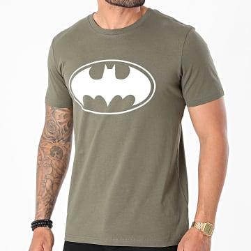 Batman - Tee Shirt Logo Vert Kaki Blanc