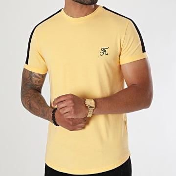Final Club - Tee Shirt Oversize Premium A Bande 615 Jaune Pastel