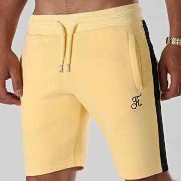 Final Club - Short Jogging Premium A Bandes 647 Jaune Pastel