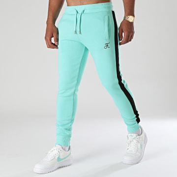 Final Club - Pantalon Jogging Premium A Bande 665 Bleu Pastel