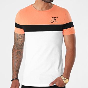 Final Club - Tee Shirt Tricolore Avec Broderie 669 Blanc Noir Orange Pastel