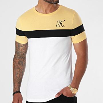 Final Club - Tee Shirt Tricolore Avec Broderie 671 Blanc Noir Jaune Pastel
