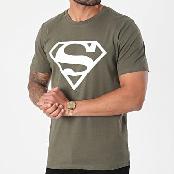 DC Comics - Tee Shirt Logo Vert Kaki Blanc