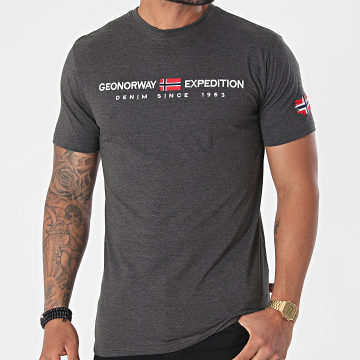 Geographical Norway - Tee Shirt Jondo Gris Anthracite Chiné