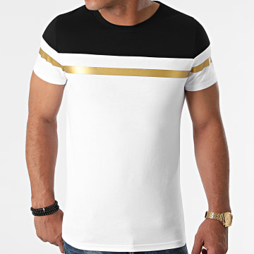 LBO - Tee Shirt Tricolore Bande Gold 1572 Blanc