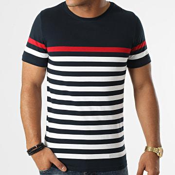 LBO - Tee Shirt A Rayures 1638 Bleu Marine Blanc Rouge