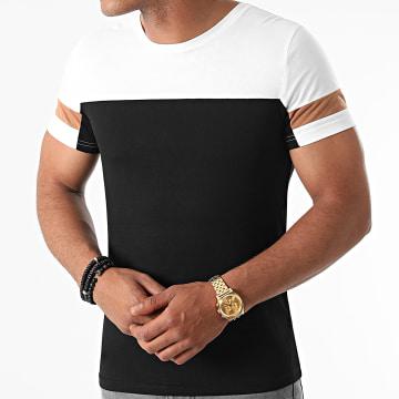 LBO - Tee Shirt Tricolore 1644 Blanc Camel Noir