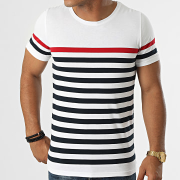 LBO - Tee Shirt A Rayures 1702 Blanc Bleu Marine Rouge