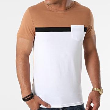 LBO - Tee Shirt Poche Tricolore 1704 Camel Blanc