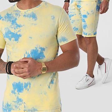 MTX - Ensemble Tee Shirt Short Jogging Tie Dye TM0405 Jaune Bleu