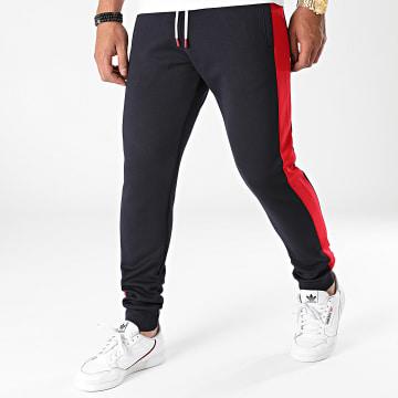 LBO - Pantalon Jogging Poly 1757 Bleu Marine Bandes Rouge