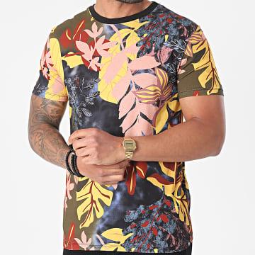 Uniplay - Tee Shirt UY640 Bleu Marine Vert Kaki Floral