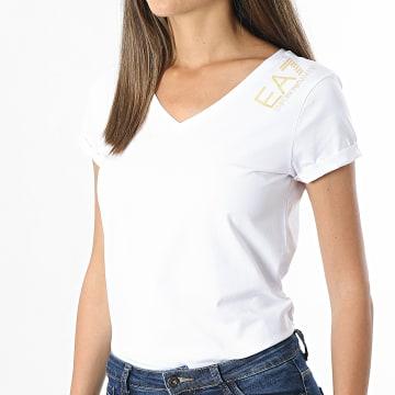 EA7 Emporio Armani - Tee Shirt Femme Col V 3KTT14-TJ29Z Blanc Doré