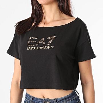 EA7 Emporio Armani - Tee Shirt Crop Femme Strass 3KTT03-TJ28Z Noir Doré