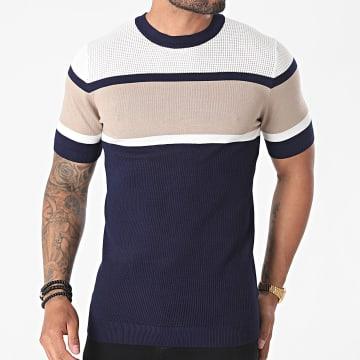 Frilivin - Tee Shirt FA5018 Bleu Marine Ecru Beige
