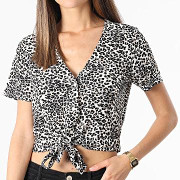 Vero Moda - Chemise Manches Courtes Femme Crop Leopard Simply Easy Beige