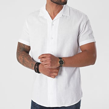 Selected - Chemise Manches Courtes New Linen Blanc