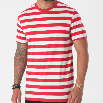 Selected - Tee Shirt A Rayures Maxwell Rouge Gris Clair Chiné