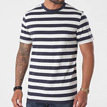 Selected - Tee Shirt A Rayures Maxwell Bleu Marine Gris Clair Chiné