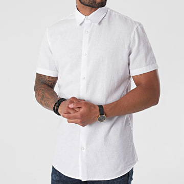Selected - Chemise Manches Courtes Slim New Linen Blanc