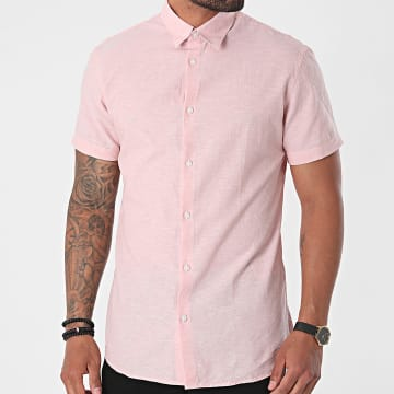 Selected - Chemise Manches Courtes Slim New Linen Rose