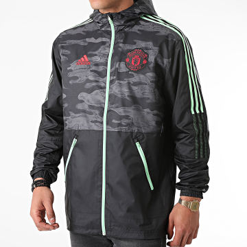 adidas - Coupe-Vent Capuche A Bandes Manchester United GQ2534 Noir Gris Anthracite Camouflage