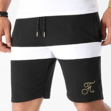 Final Club - Short Jogging Premium Fit Gold Label Bicolore Avec Broderie Or 582 Noir