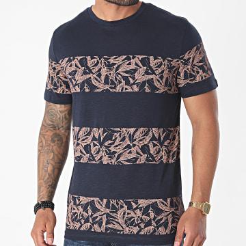 Jack And Jones - Tee Shirt A Rayures Monday Bleu Marine Floral