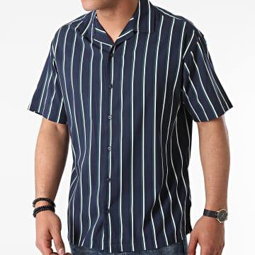 Jack And Jones - Chemise Manches Courtes A Rayures Stripe Resort Bleu Marine